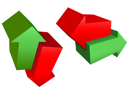 A set of red and green 3D arrow icon symbols point in right, left, up, down, north, south, east, and west directions.