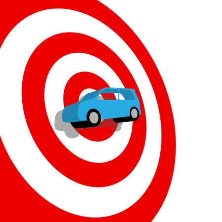 targeted: Car Buying: a blue used or new auto on the bullseye of a red target, with drop shadow.