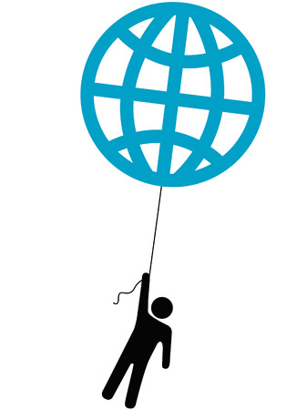 An Earth person rises up lifted into the sky by a globe balloon on a string. Stock Vector - 3769822