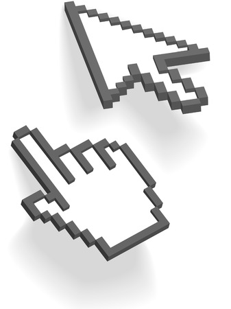 cursors: Pixel arrow and hand cursors point and click on shadows on white.