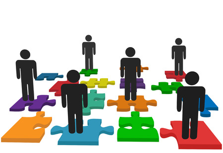 Symbolize human resources issues and other people issues and solutions with symbol people on jigsaw pieces, which actually form a puzzle. Illustration