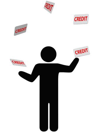 owe: A symbol person juggles credit cards, debt, and personal finances credit card. Illustration