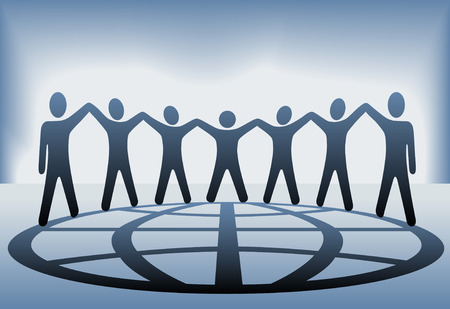 A global group of symbol people hold up their arms and hold hands on a globe on a blue background.