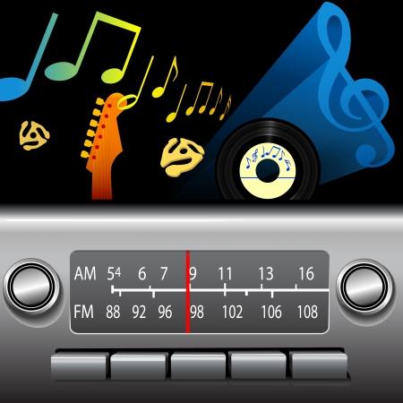 레트로 AM FM 대시 보드 라디오의 DJ 드라이브 시간. 골든 올드 디즈니를위한 골드 노트, 시원한 블루스, 재즈 등을위한 블루 뮤직 심볼