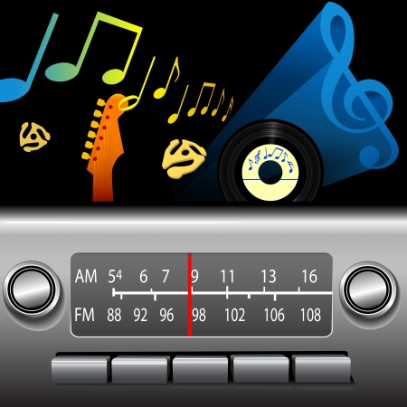 fm radio: DJ drive time on a retro AM FM Dashboard Radio. Gold notes for golden oldies, blue music symbol for cool blues, jazz etc. Illustration