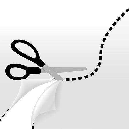 Schaar knipt een golvende stippellijn om een pagina te scheiden in 2 pagina's en een deel van de pagina onder onthullen.