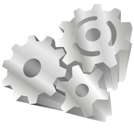 mesh: Set of 3 shiny 3D technology gears exploding out of a white background.