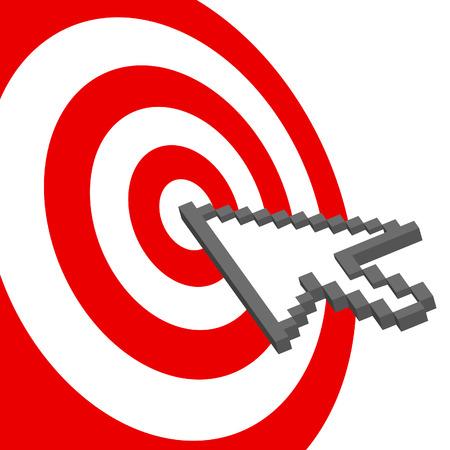 bullseye: Ein Pixel-Computer-Cursor-Symbol klickt auf die bullseye eines roten Ziel.