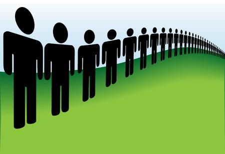 mucha gente: Una larga fila de personas alineadas en las verdes colinas de la tierra.