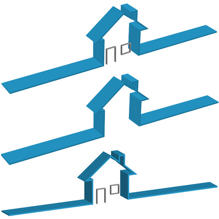 versions: Blue Ribbon 3D House Symbol in 3 versions, 2 with Doors and Windows. Illustration