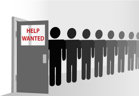 Applicants wait in a line of people at a human resources office, or people who want HELP. Easily edited copy on the door window. Vector