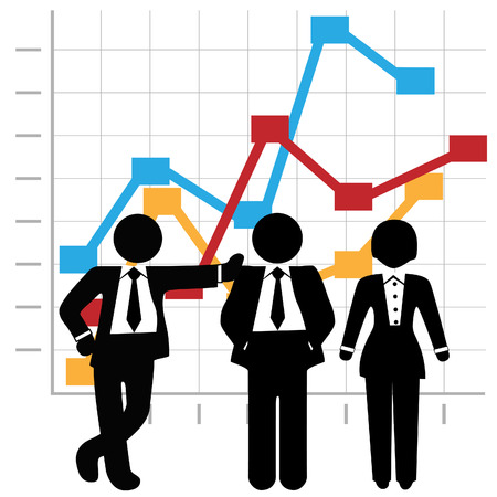 salespeople: Symbols of a team of 3 Sales people stand in front of a business profit growth chart. Illustration