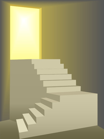 Two flights of stairs symbolize freedom and progress as they climb to a door lit by bright yellow sun light.