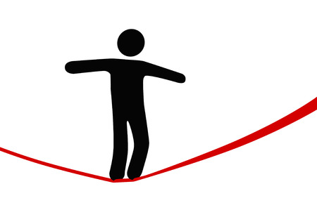A symbol person balances and walks a high wire tightrope, above risk and danger.