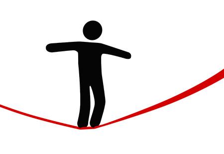 Un símbolo persona saldos y camina un cable de alta cuerda floja, por encima de riesgo y peligro.