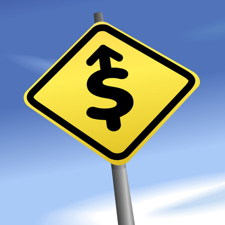 PROFIT AHEAD - dollar sign arrow points the direction on a yellow traffic sign against blue sky. Vector