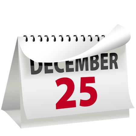 달력을 사용하면 페이지가 12 월 25 일 크리스마스 날 빨간색 편지로 바뀝니다. 일러스트