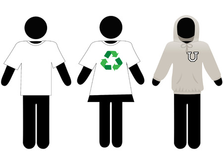 Symbol men and woman wear t-shirts and hoodie sweatshirt as copyspace for your text and graphics. Stock Vector - 3901154
