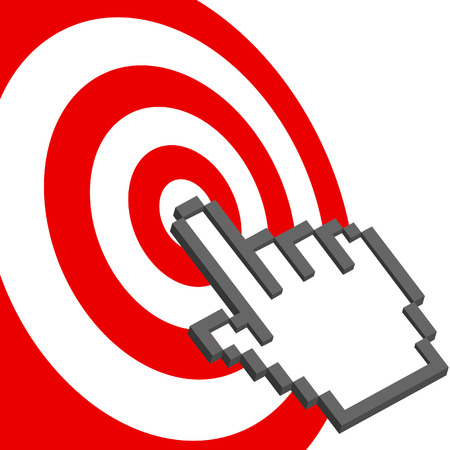 A pixel computer cursor hand icon clicks on the bullseye of a red target. Vector