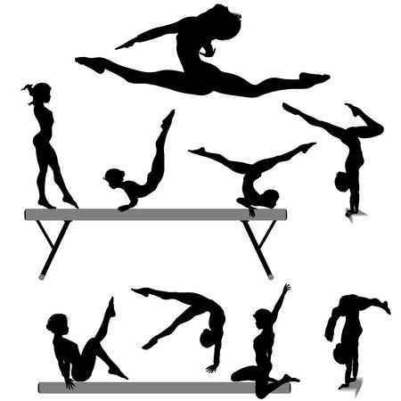 Silhouettes set of a female gymnast or gymnasts doing balance beam gymnastics exercises.