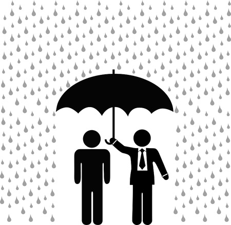 A symbol person protected by insurance agent from rain and risk under a secure safety umbrella.