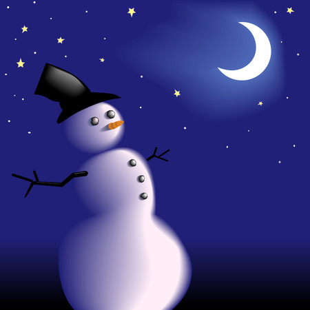 A new snowman with a frosty carrot nose under the moon and stars on a clear cold wintry night. Copyspace for your white text.