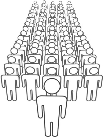 innovator: A leader stands out in front of large group of many symbol people in rows view from above.