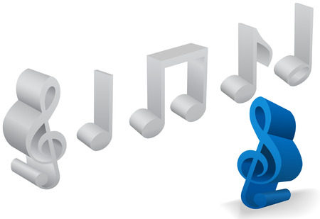 A set of six musical note and staff symbols in 3D on white. Ilustração