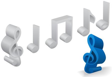 Een set van zes muzikale noot en het personeel symbolen in 3D op wit. Stock Illustratie