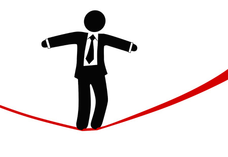 A business man balances with a briefcase, walks a high wire tightrope, above risk and danger. Vectores