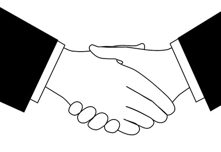 Handshake clipart sketch of business people shaking hands to meet or agree on a deal. Çizim