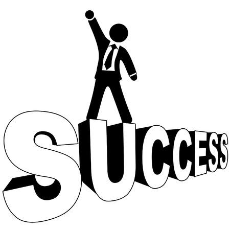 Le succès de l'homme d'affaires dans une valise et des liens se trouve sur son succès, en noir et white.Large JPG inclus. Banque d'images - 3915813