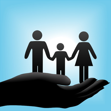 held: A family of mother, father, child symbols are held in a cupped hand on a blue background.