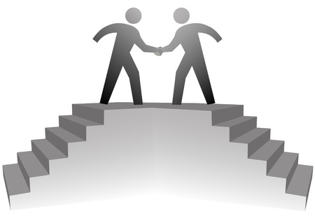 meeting: Two business people climb stairs to a podium to shake hands on deal.