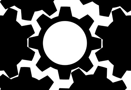 HIGH GEAR. A black and white Technology gears background with copy space.