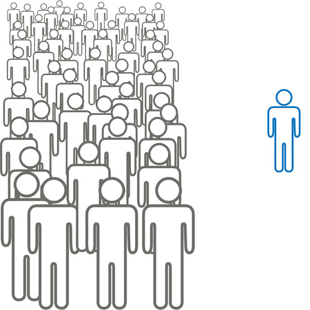 individualism: One colorful person stands out from a big crowd of gray symbol people.
