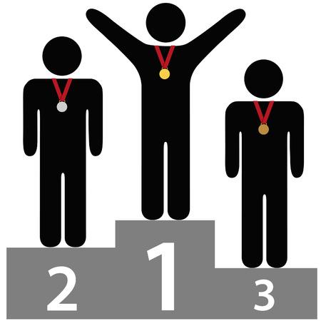 1 place: La gente obtiene oro plata medallas de bronce en tres niveles de adjudicaci�n podio las plataformas de primer segundo tercer lugar. Vectores