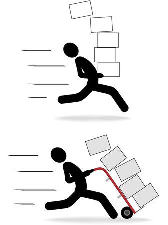 verhuis dozen: Set van snel bewegende snelle levering scheepvaart symbool mensen iconen met pakketten te gaan.
