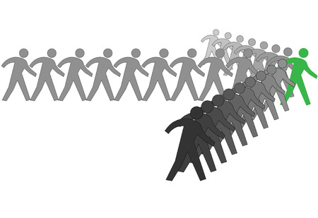A team of symbol people march forward to progress in an arrow shape behind a leader. Stock Vector - 3962200