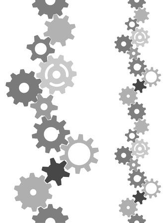 Vertikale Ziegel border: Gears Maschenöffnung zu einem abstrakten Industrietechnik Grenze oder im Hintergrund. Standard-Bild - 3986979