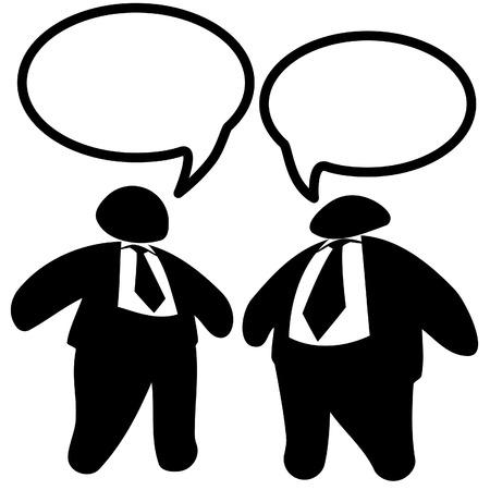 Executives: Twee big shot vet-cat zakelijke mannen in pak & banden praten toespraak bubbels.