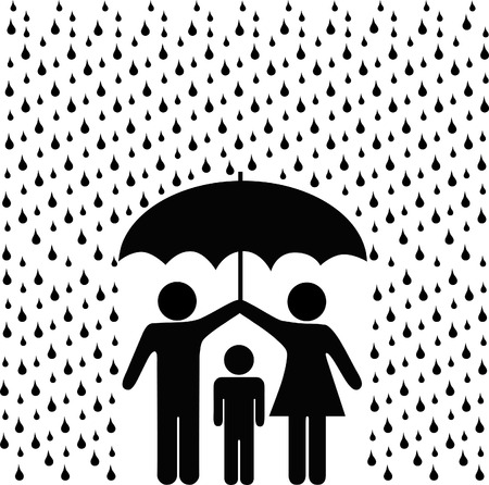 guarda sol: A couple of parents protect a child from a rain storm of risk with a secure safety umbrella.