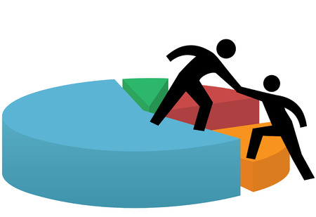 Business people lend and get a helping hand lift to success on a financial pie chart.