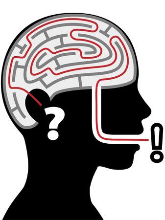Brain Doolhof Puzzel - Een denken vrouw in profiel hoort een quesion denkt en zegt een antwoord. Stock Illustratie