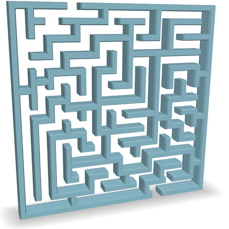 An upright 3D blue Maze Puzzle with entrance and exit at the top and bottom. 版權商用圖片 - 4138403