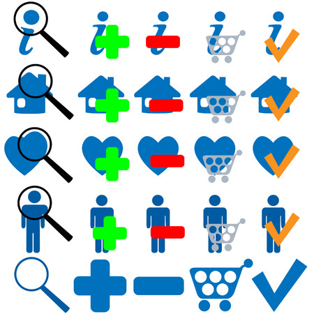 FIND BUY OK ADD MORE HOME SHOPPING FAVES Icon Set in blue. 25 useful symbols to mix and match. Stock Vector - 4153867