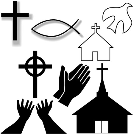 Churches, crosses, holy spirit dove, fish symbol, hands praying and in supplication, as a Christian Symbol Icons Set. Illustration