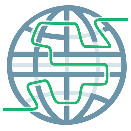 A globe symbol as a maze for global solutions or travel answers.