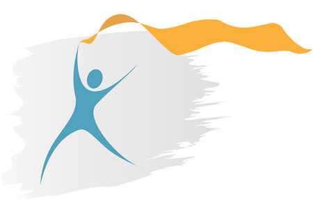 copyspace: A blue swoosh symbol person runs with a flowing gold ribbon banner as copyspace. Illustration