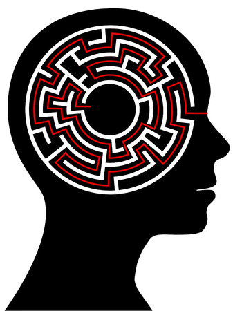 A circle radial maze puzzle as a brain in a profile persons head. Vector
